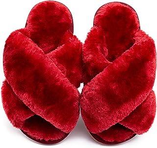 Girls Fluffy Slippers Kids Leopard Tie Dye Open Toe Memory Foam Slides Sandals Soft Plush Cross Band House Shoes Indoor Ou...