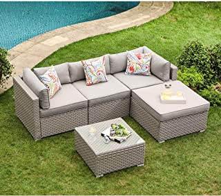 COSIEST 5-Piece Outdoor Furniture Set Warm Gray Wicker Sectional Sofa w Thick Cushions, Glass Coffee Table, 1 Ottoman, 3 Floral Fantasy Pillows for Garden, Pool, Backyard