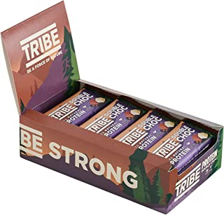 TRIBE Nutrition Natural Vegan Protein Bar, Gluten and Dairy Free Plant Protein, Double Chocolate Flavour - 16 x 50 gm