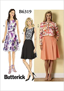 BUTTERICK PATTERNS B6319 Misses' Cardigan and Pleated-Skirt Dress, Size F5 (16-18-20-22-24)