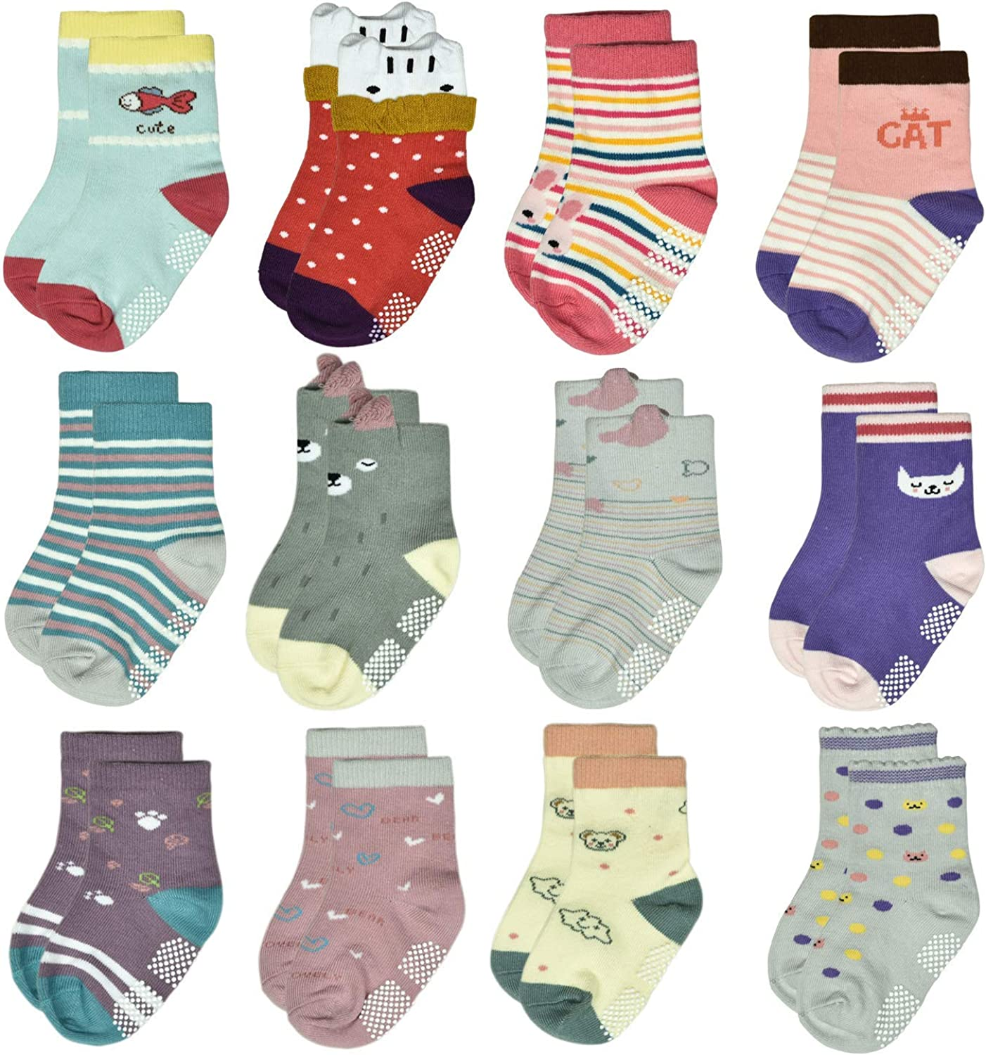 Toddlers Grip Socks with Non Slip/Anti Skid Soles for Baby Infants Kids Girls Boys 0-3 Years Old Child(6/12Pairs)