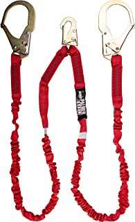 Palmer Safety Fall Protection L122233 6` Internal Shock Lanyard Double Legs with Steel Rebar Hook I OSHA/ANSI Compliant Re...