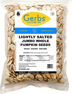 Jumbo Lightly Sea Salted Pumpkin Seeds, 2 LBS by Gerbs – Top 14 Food Allergy Free & Non GMO - Vegan, Keto Safe & Kosher - Extra Large In-Shell Pepitas grown in USA