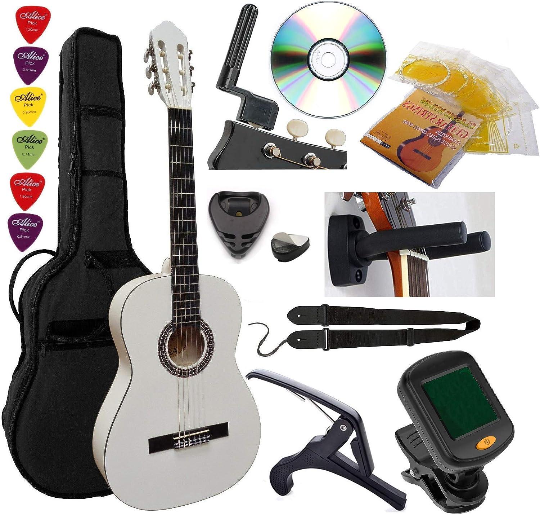 Guitarra Española Clásica 4/4 (Adulto) 7/8 3/4 1/2 1/4 (Niño) + 6 Accesorios ~ 6 Colores (4/4, Blanco)