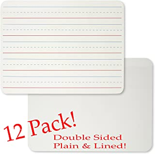 Charles Leonard Magnetic Dry Erase Lapboard, Handheld Whiteboard, 9 x 12 inches, 2 Sided Lined/Plain, White, Sold as Set of 12 Boards (35135-12)