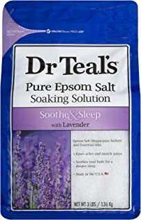 Dr. Teal's Pure Epsom Salt Soaking Solution, Soothe & Sleep With Lavender, 3 Pound Bag