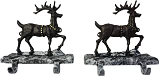 Lulu Decor, Cast Iron Christmas Stocking Holders, Mantel Hangers, 4 Hooks, 2 Deer, Strong Heavy Hooks