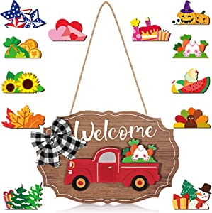 Qunclay 12 Pieces Truck Welcome Sign Front Door Red Truck Decor with Interchangeable Wooden Cutouts for Holiday Independence Day Halloween Christmas (Wood Color)