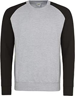 AWDis Mens Two Tone Cotton Rich Baseball Sweatshirt