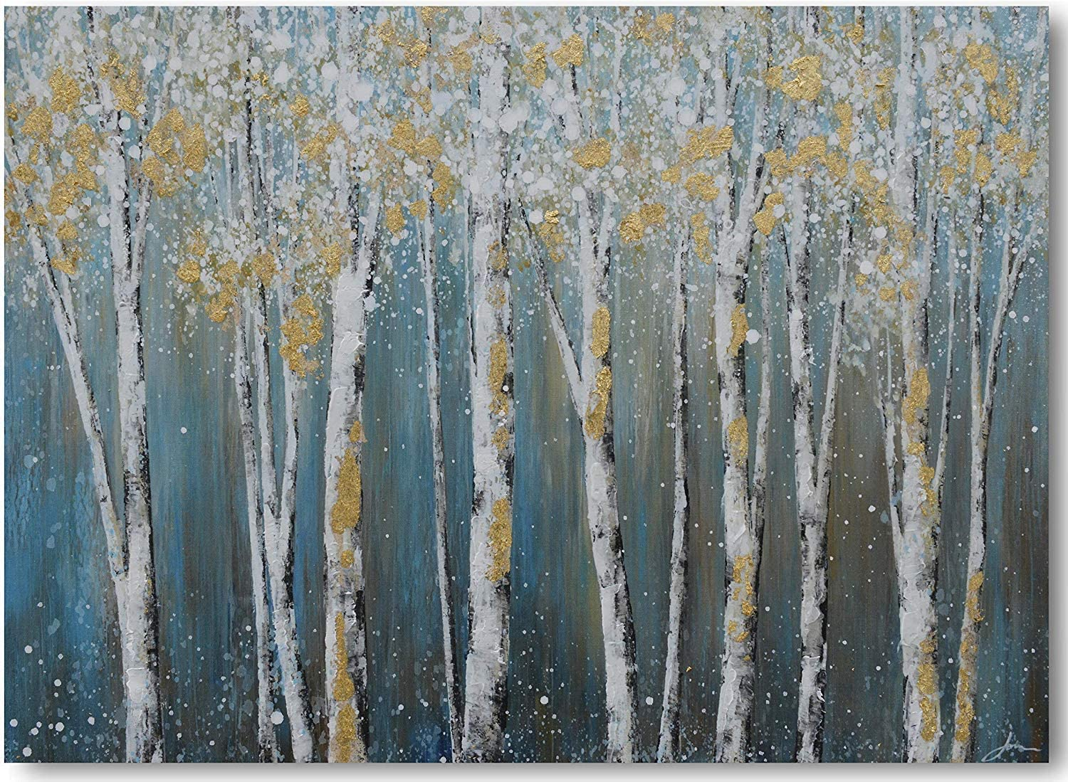 Yihui Arts Birch Tree Canvas Wall Art Hand Painted Teal and White Color Painting with Gold Foil Modern Forest Pictures for Living Room Bedroom Office Decoration