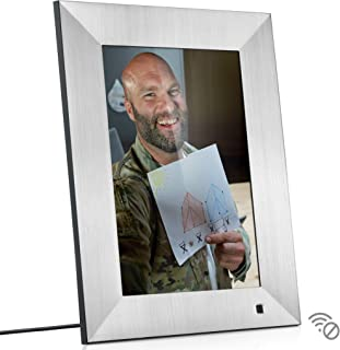 NIX Lux 10 Inch Digital Picture Frame With Brushed Silver Finish - HD Display, Auto-rotate, Motion Sensor and USB/SD Card Supported