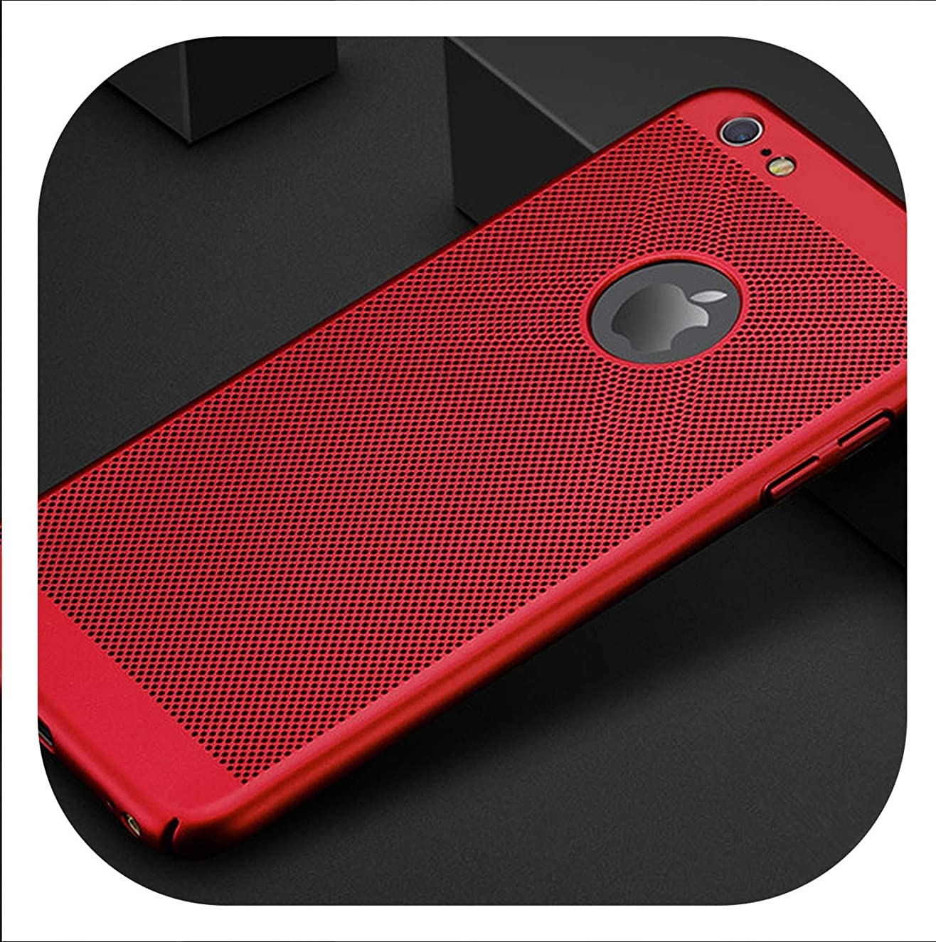 New face Hollow Heat Dissipation Hard PC for iPhone X 10 8 7 6 XS max XR 6S Plus 5S SE Phone Case Matte Protective Cover Coque,Red,for iPhone 7