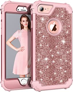 Lontect Compatible iPhone 8 Case Luxury Glitter Sparkle Bling Heavy Duty Hybrid Sturdy Armor High Impact Shockproof Protec...