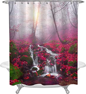 MitoVilla Red Mystic Forest Tree and Green Mossy Rock Shower Curtain Set, Waterfall River in Foggy Morning for Country Rustic Design, Fall Art Decor, Travel Gifts, Polyester Fabric 72 x 78 inches