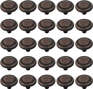 25 Pack Button Rimmed Round Kitchen Cabinet Hardware Mushroom Knob 1 1/4-in, Oil Rubbed Bronze