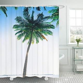 TANGANGELシーサイドココナッツツリーシャワーカーテントロピカルツリーバスルームのシャワーカーテン耐久性のある防水シャワーカーテン付き12フック