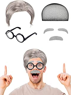 6 Pieces Old Man Costume Set Includes Wig Mustache Eyebrows Glasses Wig Cap for Dressing up Albert Einstien