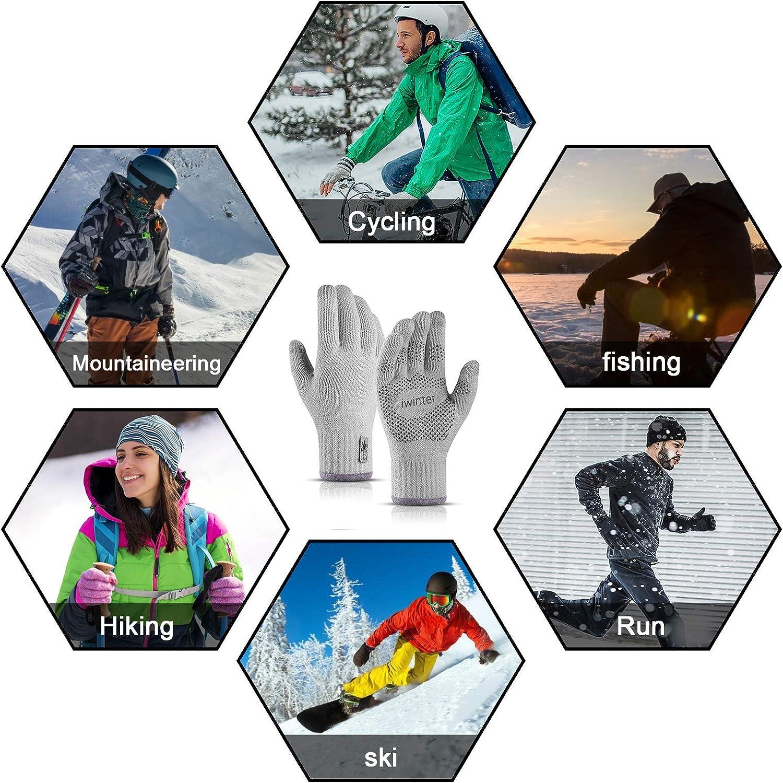 Einheitsgr/ö/ße TAGVO Touchscreen gestrickte warme Winter Handschuhe doppelt verdickte elastische Anti-Rutsch Fleece-Arbeitshandschuhe f/ür Damen /& Herren zum Laufen Skifahren Radfahren
