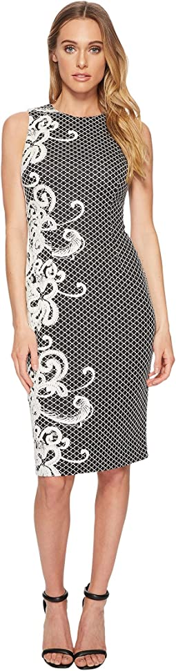 Adrianna Papell - Scroll Border Knit Sheath