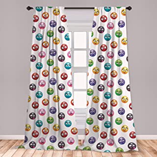 Ambesonne Emoji 2 Panel Curtain Set, Cartoon Faces in Different Colors and Emotional States Crying Happy Tongue in Cheek, Lightweight Window Treatment Living Room Bedroom Decor, 56