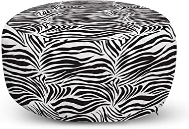 Ambesonne Zebra Print Ottoman Pouf, Striped Zebra Animal Print Nature Wildlife Inspired Simplistic Illustration, Decorative S