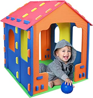 Click N' Play Giant Kids Foam Playhouse Play Tent for Boy and Girls Indoor and Outdoor, Interlocking Eva Foam Tiles.