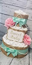 Shabby Chic Burlap Diaper Cake - 3 Tier - Baby Shower Gift (Mint Green/Pink, Coral Pink, Blush Pink, Baby Blue, Teal, Turquoise Options)
