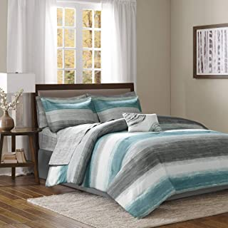 Madison Park Saben Comforter Bag Ultra Soft Down Alternative Hypoallergenic W/Cotton Texture Printed Sheets All Season Bedding-Set, Cal King, Aqua