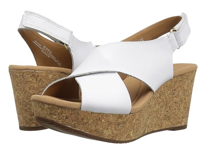 70s Shoes, Platforms, Boots, Heels Clarks Annadel Eirwyn White Leather Womens Sandals $54.36 AT vintagedancer.com
