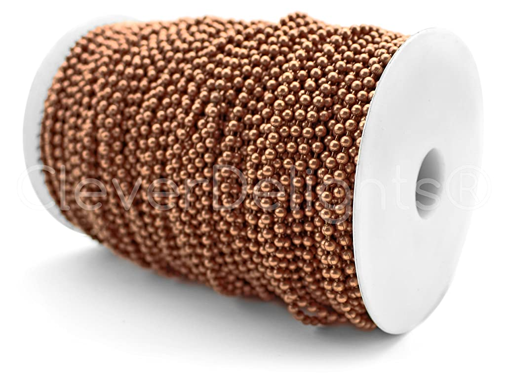 CleverDelights Ball Chain Spool - 330 Feet - 3.2mm Ball (#6 Size) - Antique Copper Color - 100 Meters