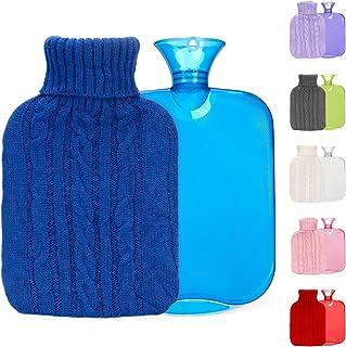 بطری آب گرم با روکش گره ای ، عالی برای تسکین درد ، درمان با سرما و گرم ، بطری گرم تزریق آب 2 لیتری ، کیسه آب گرم لاستیکی شفاف ، مناسب برای کمپینگ روز سرد (آبی)