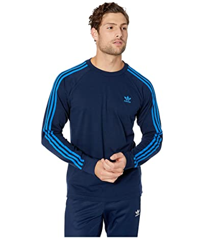 adidas Originals 3-Stripes Long Sleeve Tee (Collegiate Navy/Bluebird) Men