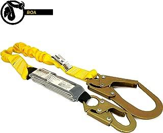 KwikSafety (Charlotte, NC) BOA 1 PACK (External Shock Absorber) Single Leg 6ft Safety Lanyard OSHA ANSI Fall Protection Restraint Equipment Snap Rebar Hook Connectors Construction Arborist Roofing