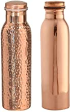 Nirlon Hammered and Plain Copper Water Bottle Combo Set, 900Ml