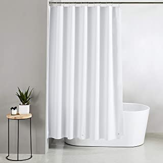 Amazon Brand - Solimo Solid 100% PEVA Shower Curtain, 72 inch x 79 inch, White