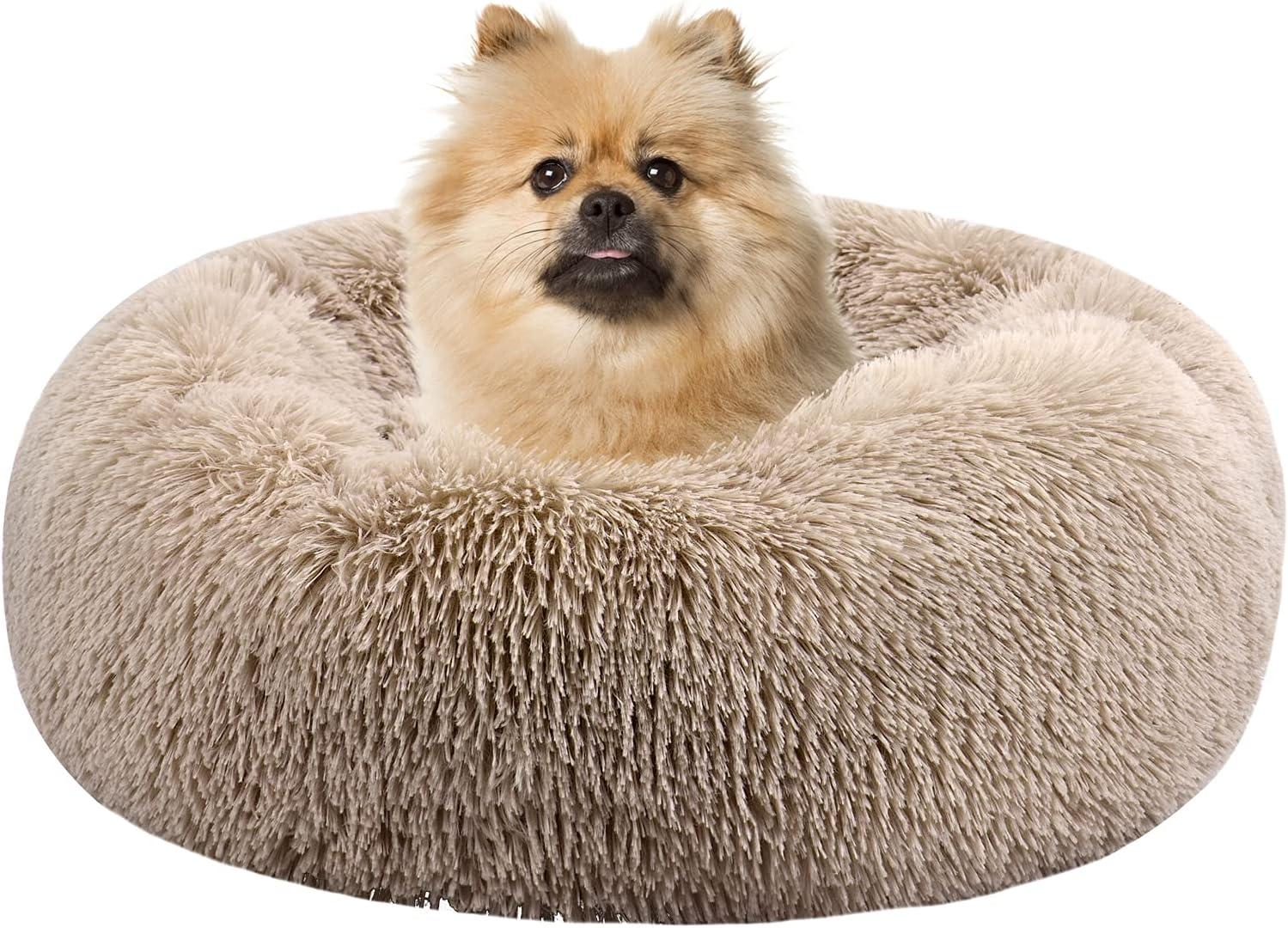 Sayiant Cama para Mascotas Cama para Gatos Suave, cálida, mullida, Felpa, Donut, Cama, Relajante, Lavable, Cama para Dormir (Marrón)