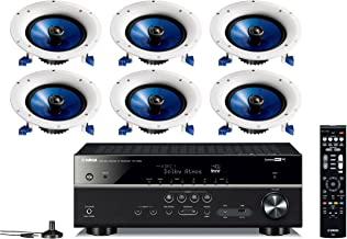 Yamaha 7.2-Channel Wireless Bluetooth 4K Network A/V Wi-Fi Home Theater Receiver + Yamaha High-Performance Moisture Resistant 2-Way 8