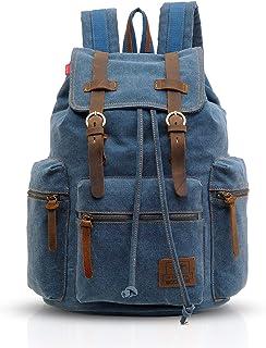 FANDARE Vintage Rucksäcke Schulrucksack Segeltuch Daypacks Ranzen Mädchen Schulranzen für 15.6 Zoll Laptop Taschen Herren Damen Schultasche für Arbeit Wandern Reisen Camping Rucksack Blau