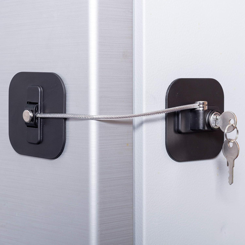 Refrigerator Lock,Fridge Lock with Keys,Freezer Lock and Refrigerator Lock for Adults(Fridge Lock-Black 1Pack)