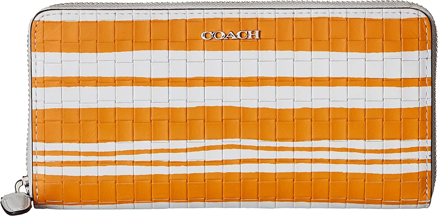 COACH Women's Bleecker Embossed Sales Max 79% OFF for sale Woven Leather Wall Accordion Zip