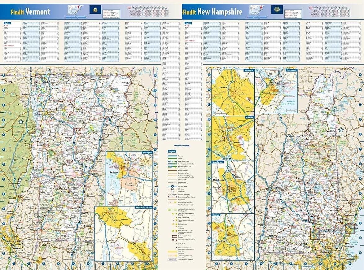 メロンピンク陪審ニューハンプシャー&バーモント州の壁地図 - 25 x 18.5インチ ペーパー
