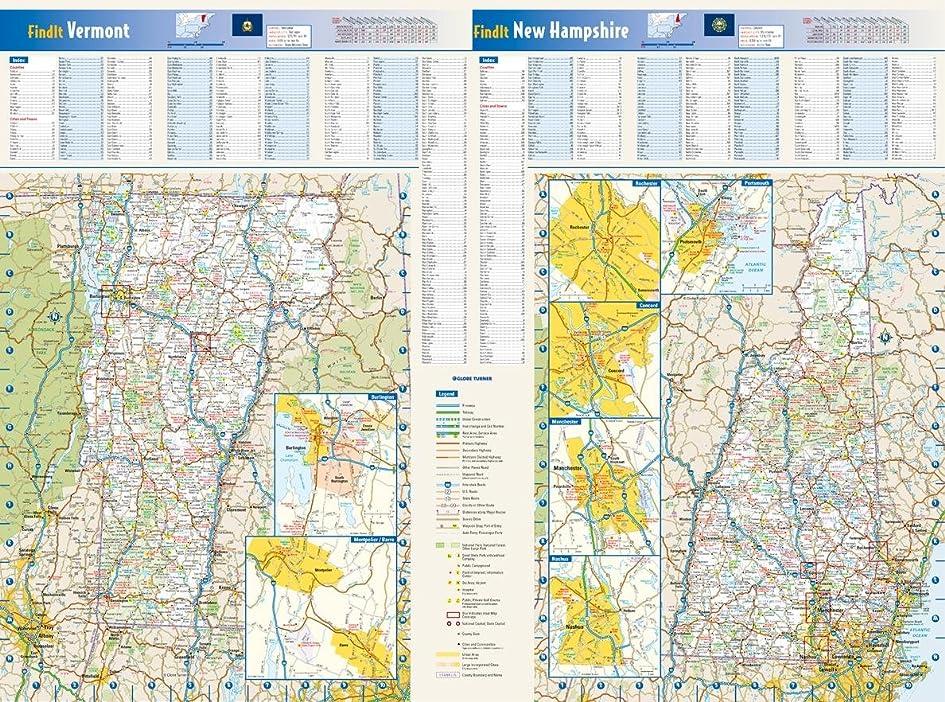 ニューハンプシャー&バーモント州の壁地図 - 25 x 18.5インチ ペーパー