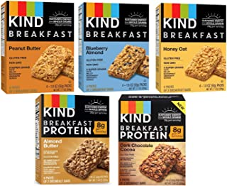 Kind, Breakfast Bars, Variety 5 Box (8ct ea): Dark Chocolate Cocoa, Honey Oat, Peanut Butter, Almond Butter, Peanut Butter Banana Maple Cinnamon, Blueberry Almond
