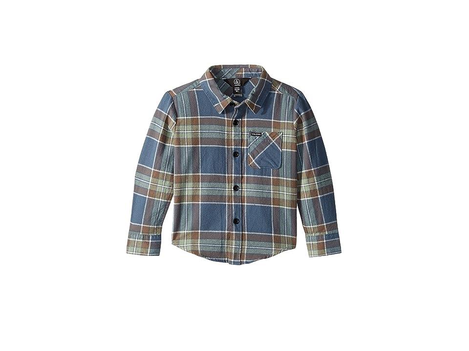 Volcom Kids Caden Plaid Long Sleeve (Toddler/Little Kids) (Indigo) Boy's Long Sleeve Pullover