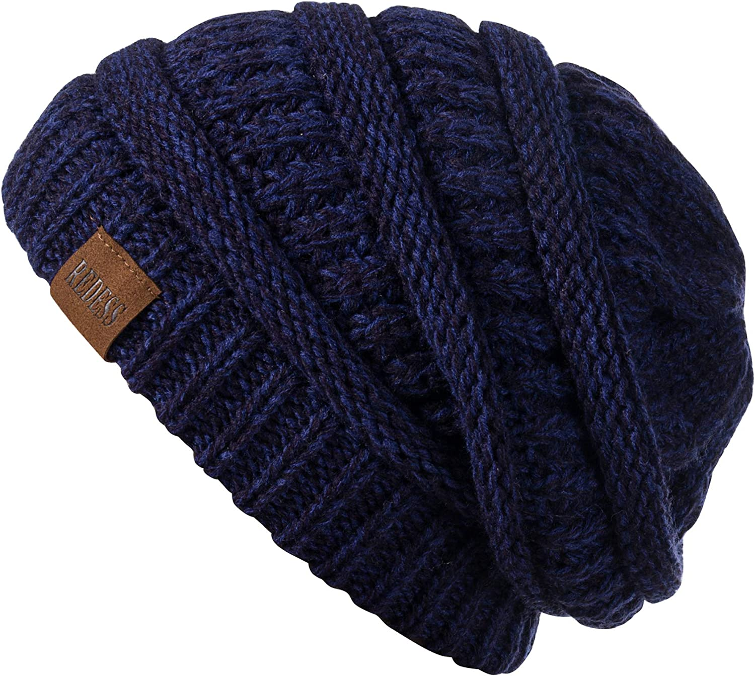 REDESS Slouchy Beanie Hat for Men and Women Winter Warm Chunky Soft Oversized Cable Knit Cap