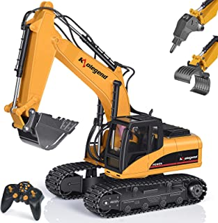 kolegend Remote Control Truck 1/14 Scale RC Excavator Toy, 3 in 1 Claw Drill Metal Bucket Full Functional Construction Vehicles Rechargeable RC Truck with Lights Sounds