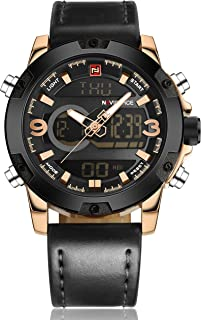 Tonnier Genuine Leather Band Analog Digital LED Dual Time Display Mens Watch