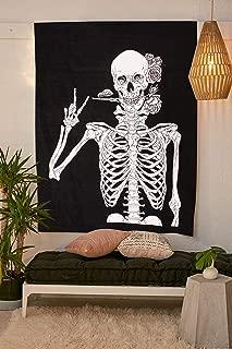 SheetKart Skull Tapestry Wall Hanging Human Skeleton Bohemian Cotton Printed Wall Hanging Tapestries, Room Art Decoration, Black and White