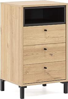 VS Venta-stock Chiffonnier Javea 3 tiroirs et 1 Niche, Couleur Bois et Noir, 45cm (Largeur) 40cm (Profondeur) 79,5cm (Haut...