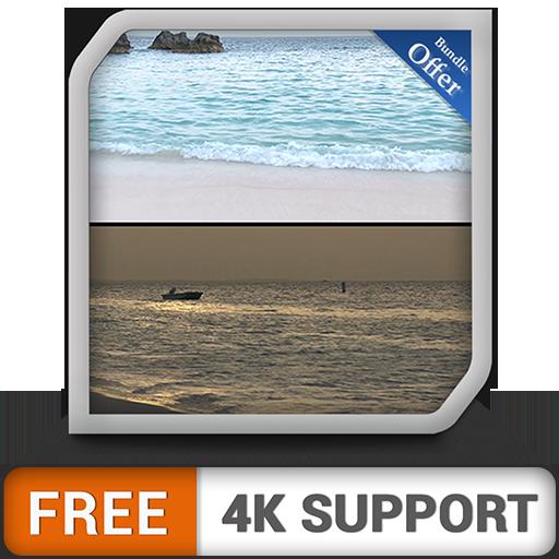 Jour et nuit gratuits sur la plage de la plage - changez votre humeur avec le lever du soleil sur la magnifique côte sur votre téléviseur HDR 8k 4k et vos appareils de pompiers comme fond d'écran et t
